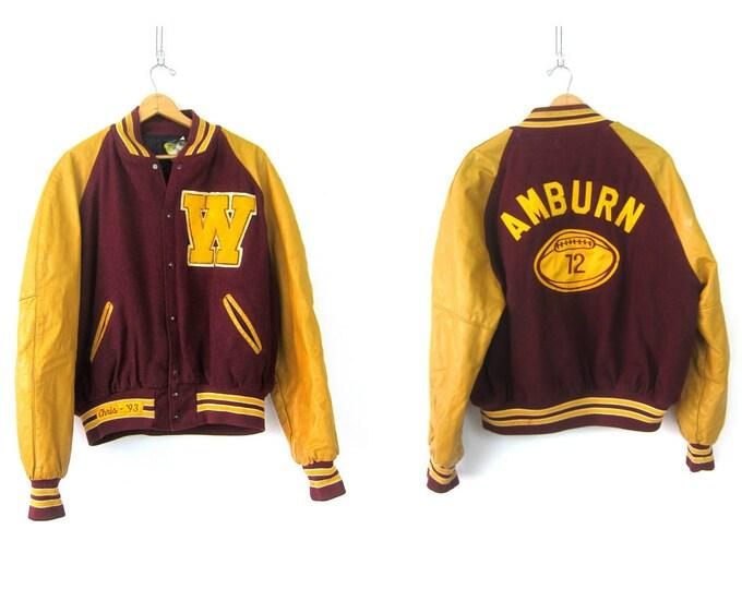 Amburn Varsity Jacket 90s LETTERMAN Jacket Burgandy Wool Yellow Gold Leather Sleeves Jacket Sports Coat College Football Jacket 2XL
