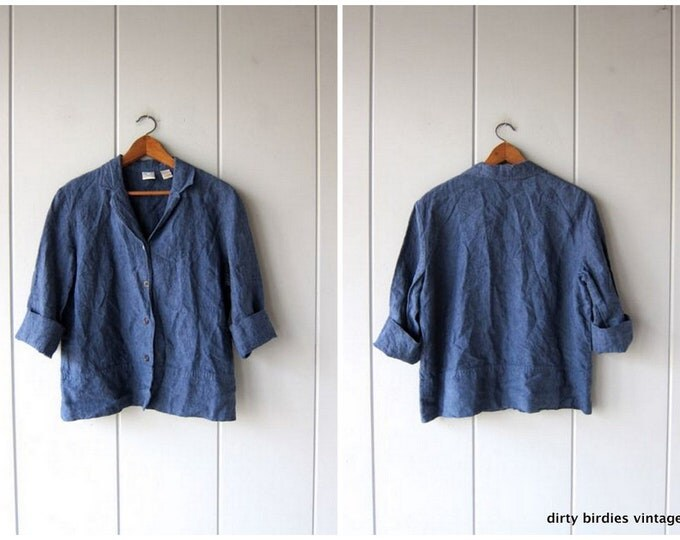 Blue Linen Blouse Vintage 90s Oversized Shirt Blazer Long Sleeve Minimal Button Up Top Denim Look Shirt Womens 16 Large / XL