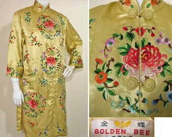 Vintage 1960s Yellow Silk Satin Embroidered Chinese Jacket SZ S/M