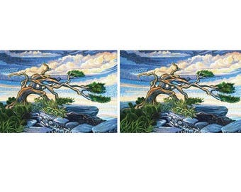 "14"" Fabric Panel - Northcott Digital Print Artisan Spirit Dreamscape Tree Blue"