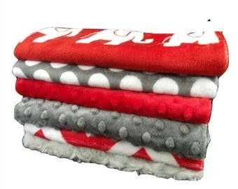 SALE Red and Gray Burp Cloths, Red Elephants Baby Burp Cloths, Red Chevron Baby Burp Burp Rags, Burping Accessories