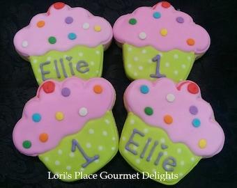 Cupcake Cookies - Personalized Cupcake cookies - 12 Cookies