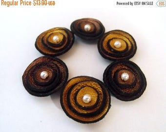 40% OFF SALE 6 pcs TINY round findngs Jewelry supplies. Handmade leather flowers for crafts and jewelry making