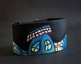 50% OFF SALE Colorful houses leather wide black cuff bracelet Jewelry Wristband Casual Gaudi inspired