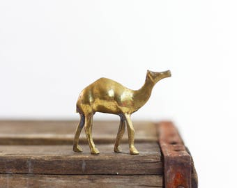Vintage Brass Camel Figurine / Mid Century Brass Figurine /  Miniature Brass Camel / Boho Home Decor