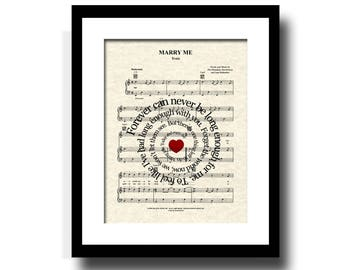 Marry Me By Trian Song Lyric Sheet Music Art Print, Custom Wedding and Anniversary Art Print, First Dance Art, Names & Date Art
