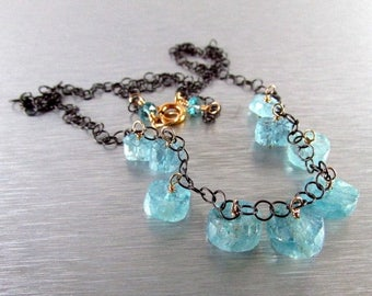 25 OFF Mixed Metal Aquamarine Necklace Rustic Necklace,