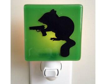 Chipmunk Nightlight - Hand Painted Glass - Funny Gift - Humor - Housewarming gift