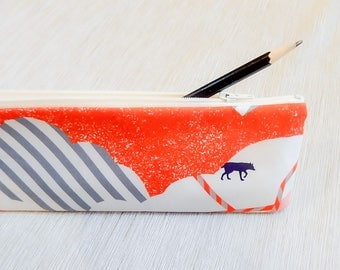 Pencil Case, Pencil Pouch, Make Up Bag, Cosmetic Pouch, Pouch, Long Pencil Case, Gift for Her, Gift for Teen, Fox Pencil Pouch, Coin Purse