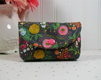 Small Snap Pouch, Accessory Pouch, Small Cosmetic Pouch ...Budquette in Nightfall, Emmy Grace