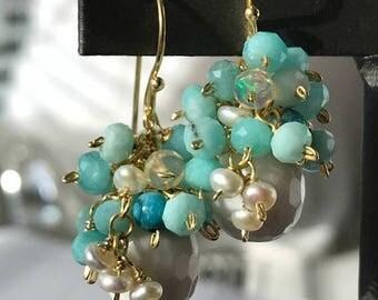 FLASH SALE Opal Cluster Earrings White Quartz Wire Wrap Gemstone Pearl Cluster Aqua Amazonite 14kt Gold Fill Earrings Ethiopian Opal Summer