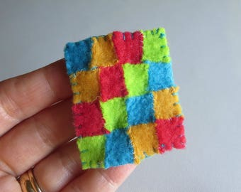 Dollhouse quilt tiny fleece hand stitched miniature
