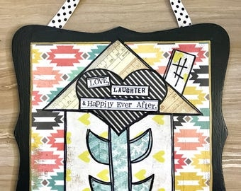 Happily ever after, house, mixed media art collage plaque by Things With Wings
