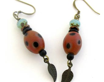 Dark Orange or Adobe Colored Polka Dotted Bead Boho Style Dangle Earrings by Carol Wilson of Je t'adorn
