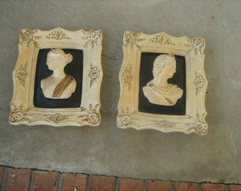2 vintage 1960s chalkware wall plaques