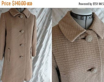 ON SALE 60's Coat //  Vintage 1960's Taupe Textured Coat by Constantino Size M