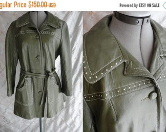 ON SALE 60s 70s Jacket //  Vintage 60's 70s Olive Green Leather Jacket with belt Size M
