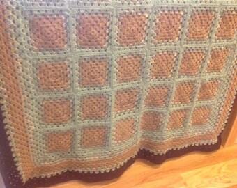 Woodland Retreat Crochet Granny Square Afghan FREE SHIPPING