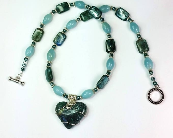 Blue-green Chrysocolla Heart Pendant with Kyanite and Amazonite Accents Necklace Set