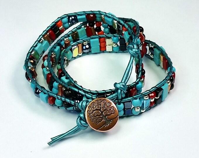 Southwestern Bracelet - Triple Wrap Bracelet - Turquoise and Red Bracelet - Leather Wrap Bracelet