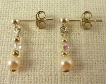 Vintage Petite Sterling Faux Pearl Cut Glass Bead Drop Earrings