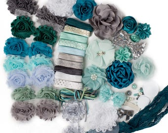 Silver Lining : DELUXE DIY Flower Elastic Headband Kit   MAKES 25+ Hair Accessories   Baby Showers + Birthdays Teal Blue Silver Gray