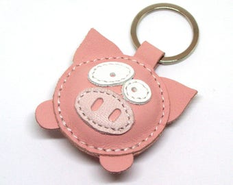 Geza The Cute Little Pink Pig Handmade Leather Keychain - FREE Shipping Worldwide, Handmade Leather Pig Bag Charm, Pig Gift Ideas, Pig Lover