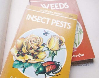 2 Vintage Books Insects and Weeds ~ Golden Press Guides ~ Gardeners Botanist Gift ~ Entomologists ~ Insect Pests ~ Weeds ~ Drawings ~