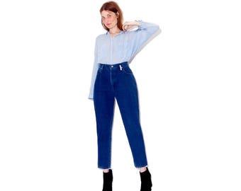 adorable COBALT BLUE jeans / high waisted jeans super flattering full hip tapered skinny jeans mom jeans vintage jeans 80s jeans 90s jeans
