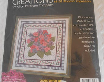 DESTASH - Home Creation, #8102 Bloomin Impatience Counted Cross Stitch Kit, Alice Peterson Company