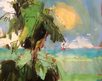 Coral Cove Beach with palm trees sunset and sailboats expressive painting 11 x 14 inch painting ready to hang on paper on stretched canvas