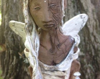 SOLD    Forest Sprite. Ghost Pipe and Mycelium and moth