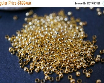 SUMMER CLEARANCE Popular Size 18K Gold Plated Round Crimps - 2mm - 200 pcs