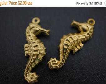 SUMMER SALE Raw Brass Seahorse Charms - 25mmx10mm - 10 pcs
