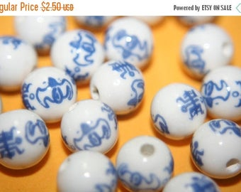 SUMMER CLEARANCE Traditional Chinese Blue Ceramic Round Beads with Chinese Characters -12mm - 6 pcs
