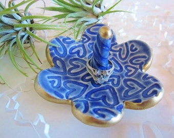 Royal blue ring dish with gold rim, ring holder, jewelry dish, heart design, Gift for Mom, 3.5""