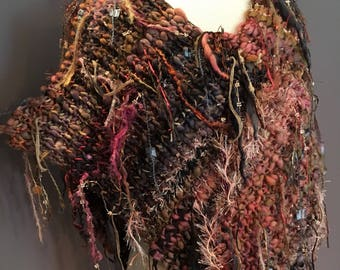 Plush knit 2-tip Poncho with fringe and hand dyed spun yarns and ribbons, 'Sunset', brown salmon gold mauve poncho, boho, tribal