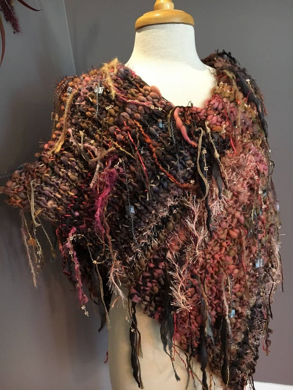 Plush knit Poncho with fringe and hand dyed hand spun yarns and ribbons, 'Sunset' Multitextural brown salmon gold mauve poncho, boho, tribal