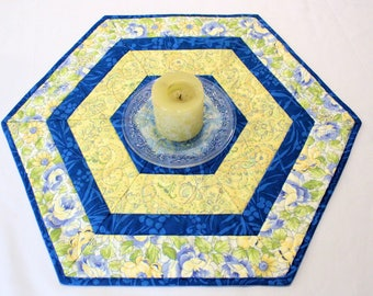 Blue and Yellow Hexagon Quilted Table Topper, Candle Mat, Table Runner Quilt, Floral Decor, Blue Yellow Summer Centerpiece, Quiltsy Handmade