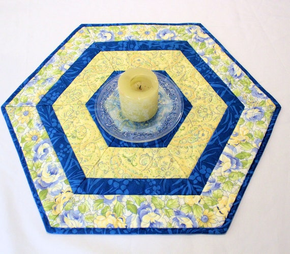 Blue And Yellow Hexagon Quilted Table Topper Candle Mat