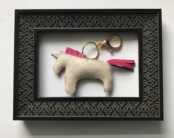 pink and ivory GUCCICORN unicorn gucci monogram bagcharm keyring -Ready To Ship!