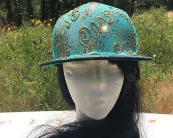 Gold Glitter Confetti Design on Teal Flat Brim Snapback Hat