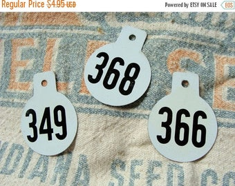 ONSALE One Vintage Metal Numbered Cattle Double Sided Tag