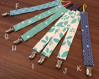 Pacifier and Toy Clips - Cool Colors