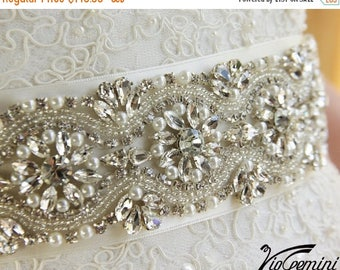 "SALE 20% 17"" Wedding Sash Belt, Weding Belt, Bridal Sash, Bridal Belt, Rhinestone and Pearl Sash"