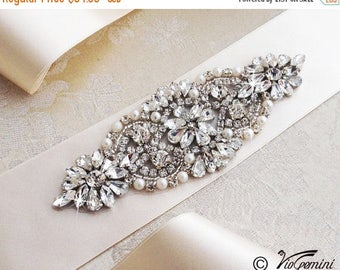 SALE 20% Ivory Bridal Sash, Wedding Sash Belt, Rhinestone Sash, Rhinestone Bridal Sash, Bridal Sash Belt