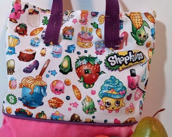 Shopkins 1st Tote Bag, Embroidered Tote Bag, School tote, Party gift bag, Overnight bag, book bag