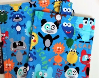 Funny Monsters Reusable Snack Bag Eco Friendly / 2 sizes /