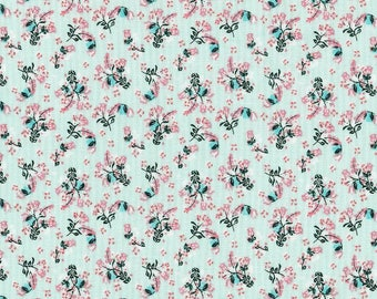 Floral Mint Cotton Fabric by the yard and by the half yard