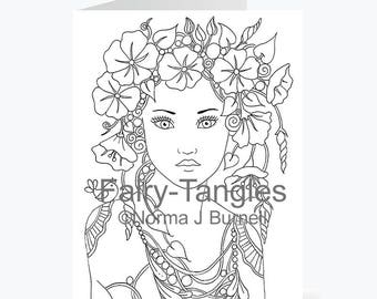 Printable Fairy Tangles Greeting Cards to Color by Norma J Burnell 5x7 Morning Glory Fairy Card for Coloring Card Making & Adult Coloring